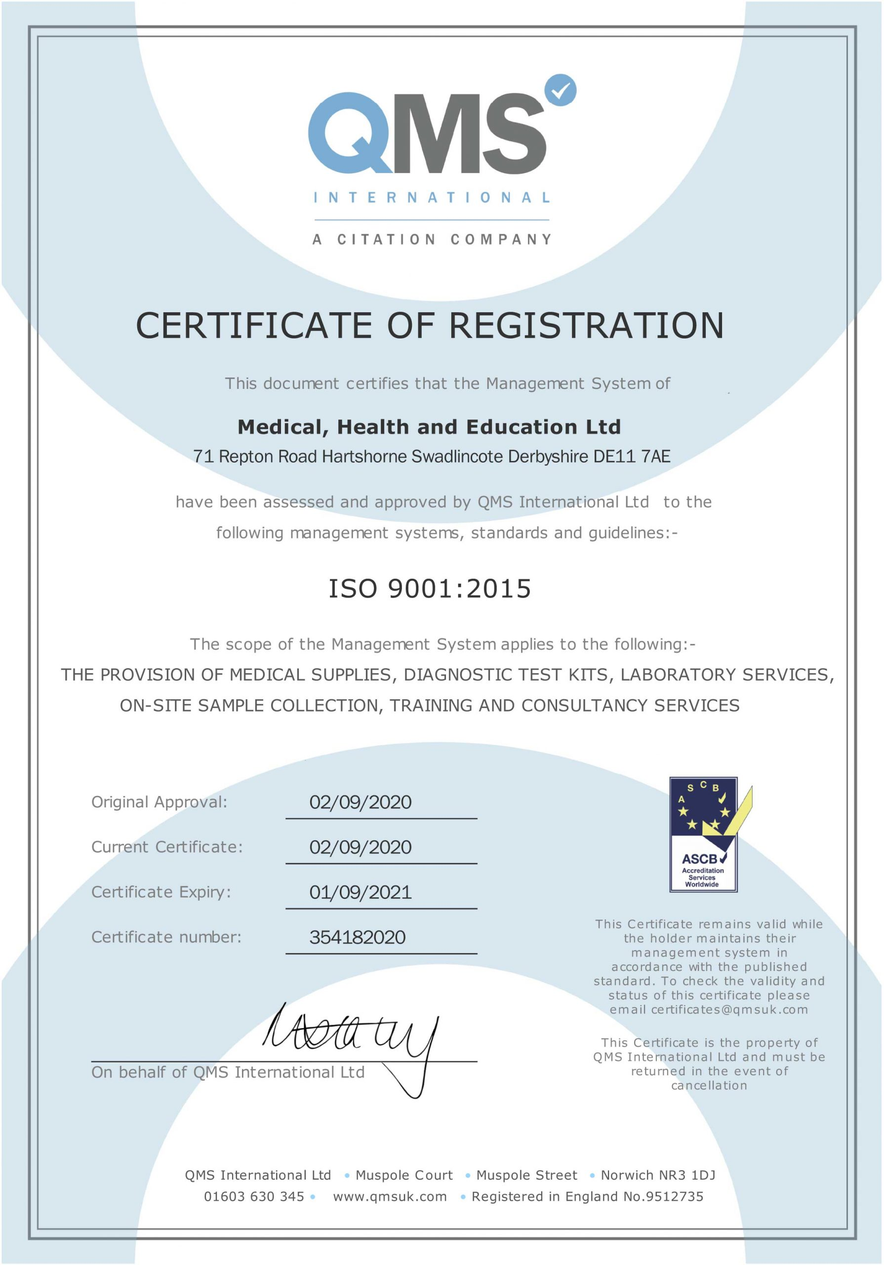 MHE ISO 9001: 2015 Accreditation Certificate